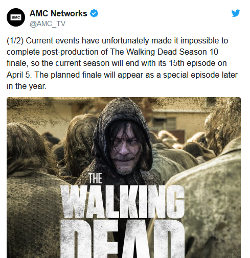 The walking dead postponed official message photo